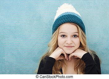 tonåring, med, beanie