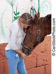 tonåring, med, häst