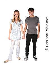 tonåring, par, är, rymt, för, den, _ räcka på, den, den, vit