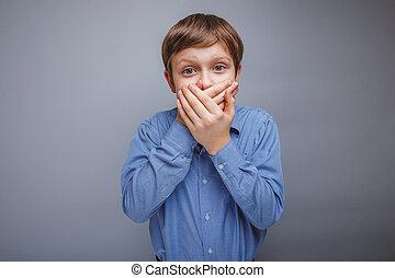 tonåring, pojke, 10, år, av, europe, uppträden, brunt hår,...