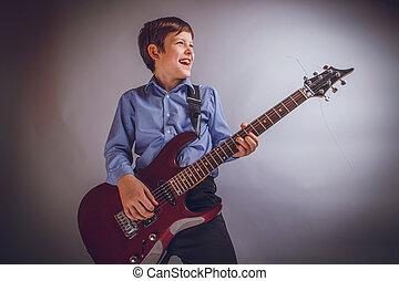 tonåring, pojke, 10, år, av, europe, uppträden, leende,...