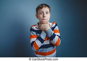 tonåring, pojke, av, om, tio, europe, uppträden, brunt hår,...