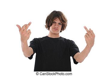 tonåring pojke, inställning, finger, dubbel