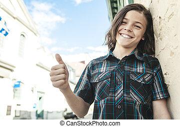 tonåring pojke, le, ung, stående