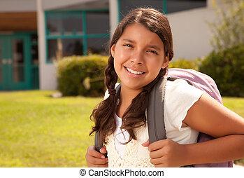 tonåring, söt, skola, hispanic, student, klar, flicka