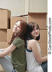 tonåring, sisters, gripande
