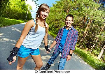 tonåring, skaters