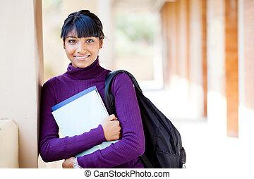 tonåring, skola, hög, indisk, student, stående