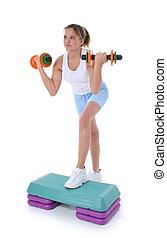 tonåring, steg aerobics