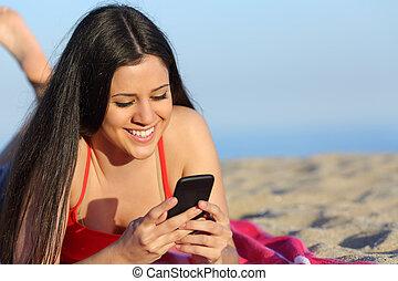 tonåring, texting, ringa, flicka, strand, smart