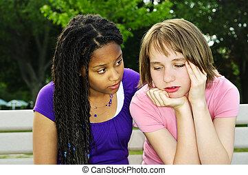 tonåring, trösta, henne, vän
