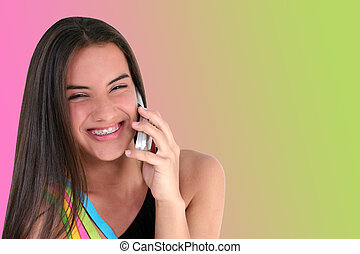 tonåring, vacker, mobiltelefon