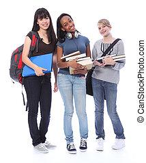tonårs- flickor, student, etnisk, utbildning, lycklig