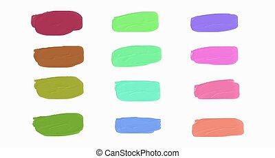 ton, éclaboussure, encre, ensemble, vector., coloré, conception