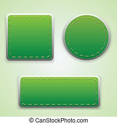 ton, étiquettes, ensemble, vert, conception
