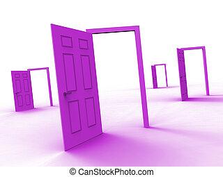 ton, appartement, portes, moyens, maison, -, illustration, dreamhouse, conclusion, icône, rêve, ou, 3d