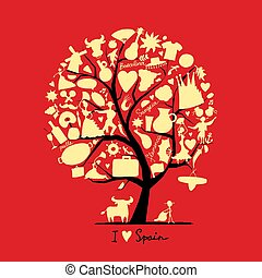 ton, art, arbre, espagne, symboles, conception