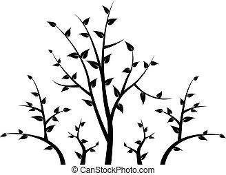ton, branche, silhouette, arbre