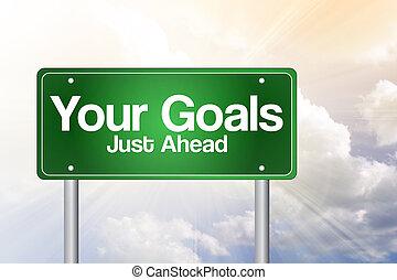 ton, buts, juste, devant, vert, panneaux signalisations, concept affaires