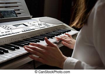 ton, chemise, blanc, apps, jouer, pratiqué, utilisation, ...