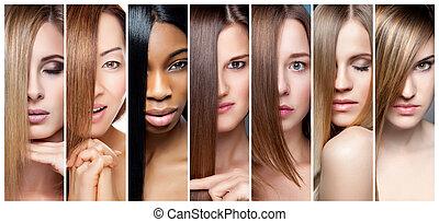 ton, collage, farbe, haar, verschieden, haut, teint, frauen