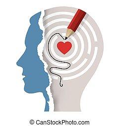 ton, concept., psychologique, soi, tête, amour, mâle