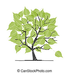 ton, conception, arbre, vert, bouleau