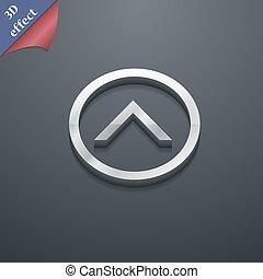 ton, conception, vecteur, direction, espace, icône flèche, 3d, symbole., style., branché, texte, moderne, haut