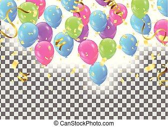 ton, confetti, célébration, espace, composition, ballons, ensemble, cadre, coloré, texte