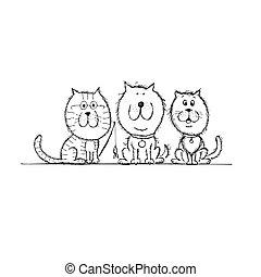 ton, croquis, conception, chiens, chat
