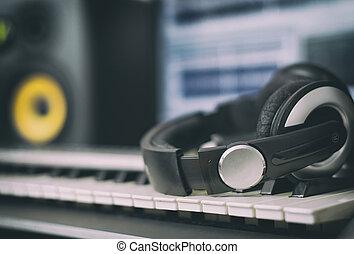 ton, earphones., daheim, aufzeichnungsstudio, mit,...