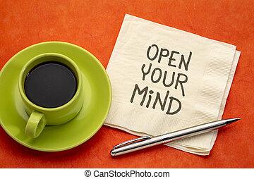 ton, esprit, note, inspirationnel, ouvert