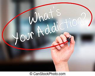 ton, est, addiction?, écriture, visuel, noir, marqueur, main, écran, homme