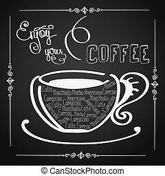 ton, fond, café, logo, jouir de, ou