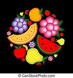 ton, fruit, fond, conception, énergie