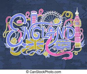 ton, lettrage, éléments, art, coloré, toile, mobile, résumé, illustration, main, arrière-plan., angleterre, vecteur, applications., gabarit, doodles, conception