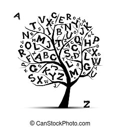 ton, lettres, art, arbre, conception, alphabet