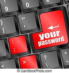ton, mot passe, bouton, sur, clavier clavier, -, sécurité, concept