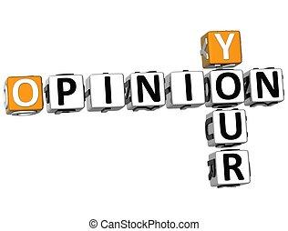 ton, mots croisés, opinion, 3d, texte