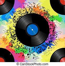 ton, musique, vecteur, aquarelle, vinyle, texture, créativité, modèle, splash., arc-en-ciel, enregistrement, musical, seamless, notes