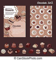 ton, -, restaurant, affiches, sombre, chocolate., cartes, chocolat, conception, annonces, lait, gabarit, menu., blanc, différent, bonbons, genres