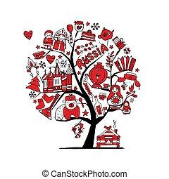 ton, russe, art, arbre, symboles, conception