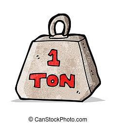ton, spotprent, gewicht, een