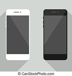 ton, toile, réaliste, isolé, conception, arrière-plan., noir, iphone, gabarit, nouveau, blanc, développement, smartphone, cellphone, collection, téléphone, ombre, style., gris, mobile, app., site