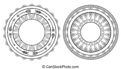 ton, vecteur, noir, indigène, ensemble, blanc, pattern., élément, frames., conception, boho