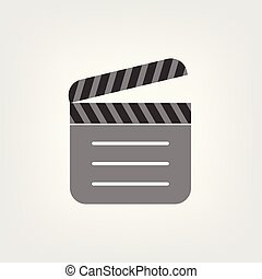 ton, vecteur, site, icon., conception, clapperboard, ui., toile, logo, app, illustration, plat