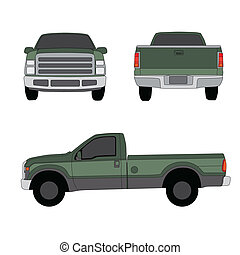 tonabnehmer, drei, abbildung, vektor, lastwagen, grün, ...