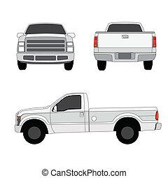 tonabnehmer, drei, abbildung, vektor, lastwagen, seiten, ...