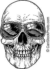 tonalità, occhiali da sole, scheletro, cranio, fresco
