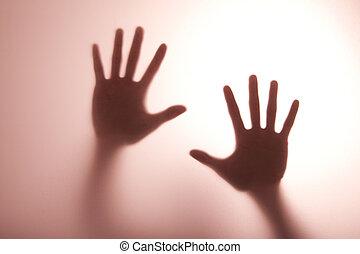 tonalité, atteindre, lumière, chaud, main, verre, toucher, flou, dehors